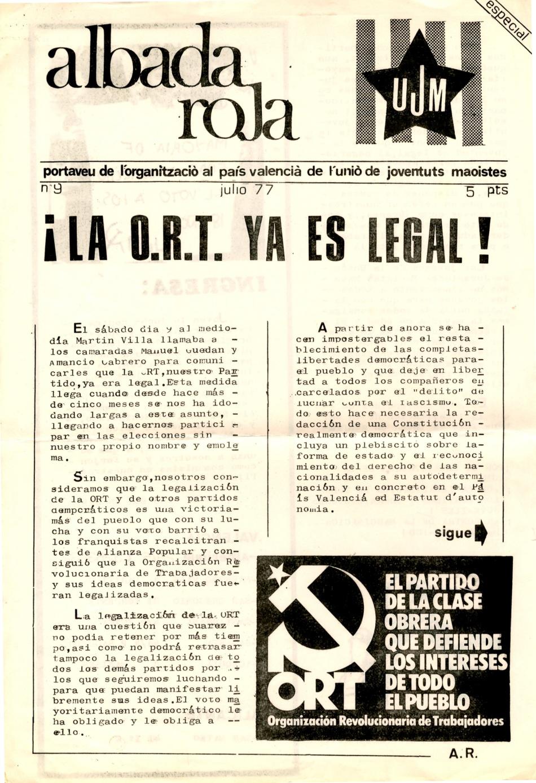 ALBADA ROJA, Periodico de las Juventudes Maosistas del Pais Valenciá. Legalización y democracia Ahora