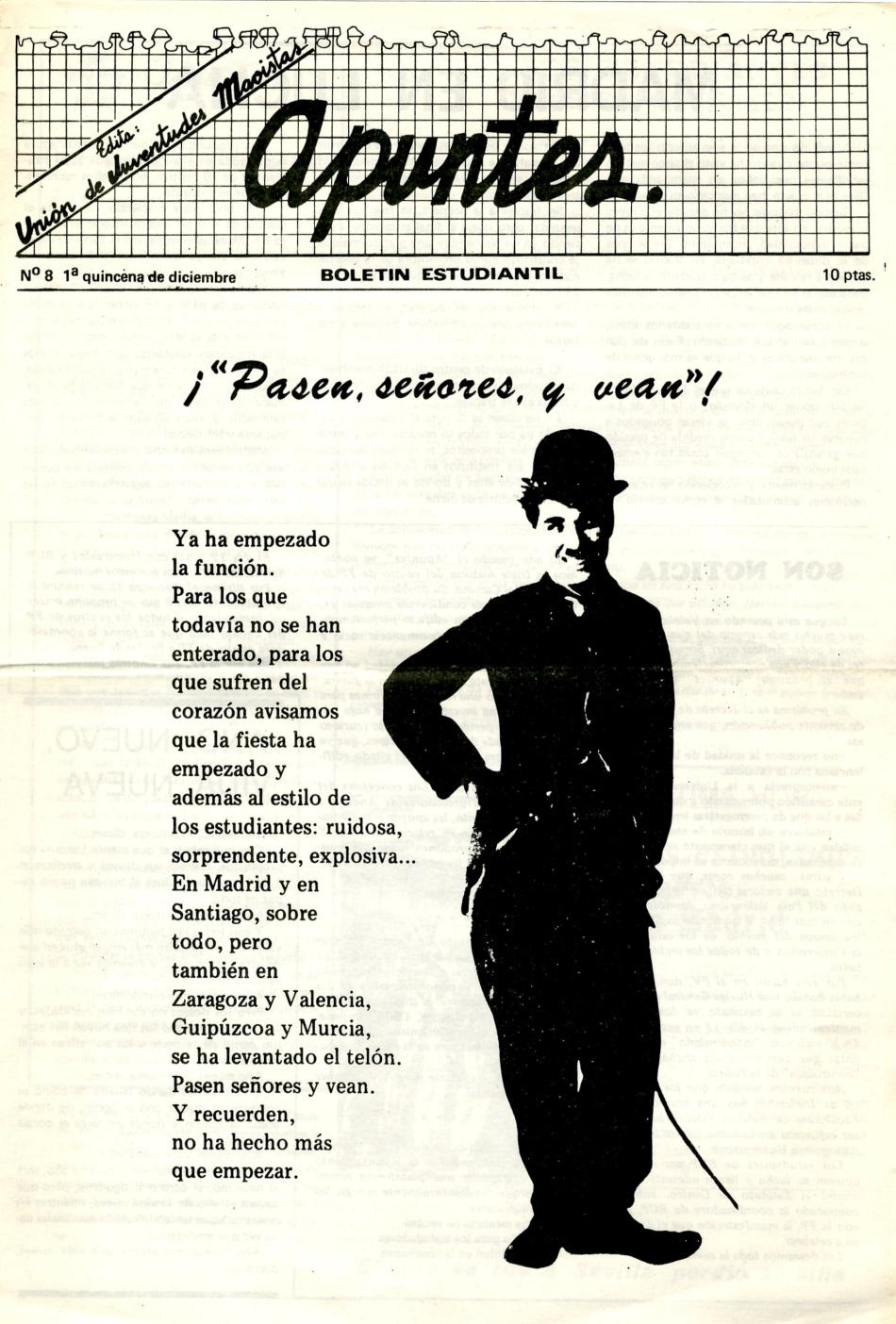 APUNTES BOLETIN ESTUDIANTIL, Union de Juventudes Maoistas, ORT UJM, No a la Selectividad, Huelga contra la Selectividad