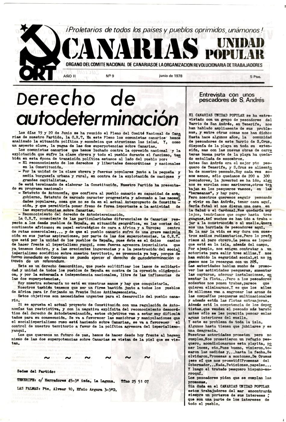 CANARIAS UNIDAD POPULAR, ORT-UJM ,AUTODETERMINACION